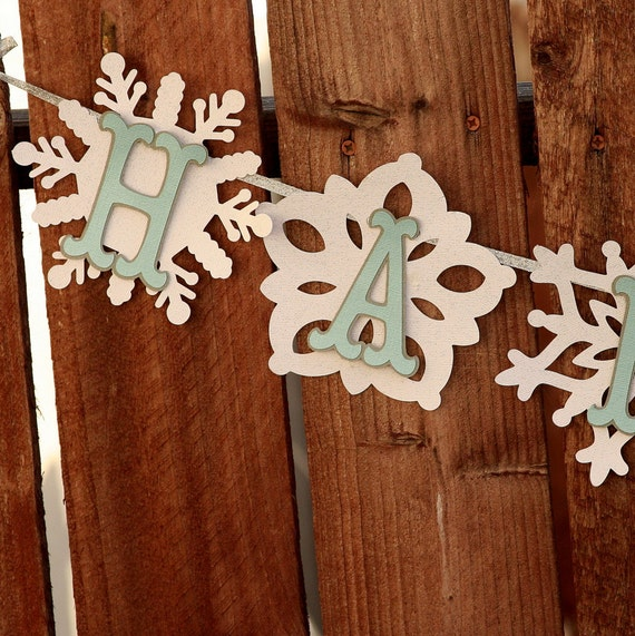 Winter Onederland Party - Happy Birthday Banner - Winter Wonderland -  Snowflake Theme - Winter Party - Party Decor - Snowflake Banner