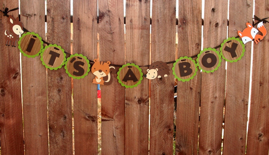 woodland creatures banner it 39 s a boy baby shower
