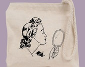 Retro Mirror Lady Cosmetics Bag Mini Tote  - other image colors available