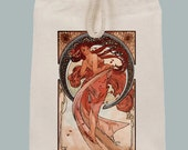 """Alphonse Mucha  """"Dance"""" Print Lunch Bag Tote with Velcro closure and Rope Handle"""
