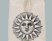 Vintage Ancient Sun Illustration Lunch Bag Tote with Velcro closure and Rope Handle