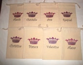 Sparkle Tiara Personalized 6x9 inch Muslin Drawstring Goody Bags - Set of 8