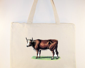 Gorgeous Vintage Cow image on Canvas Tote with zipper top and shoulder Strap - Selection of  sizes personalization available