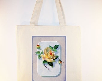 Vintage Yellow Rose Illustration BLACK or NATURAL Canvas Tote -- Selection of sizes available.
