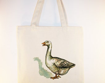 Vintage Goose Image on Canvas Tote with Shoulder - Selection of sizes available