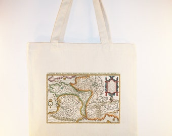 Vintage Map of France Image on  Canvas Tote with shoulder strap -  Selection of sizes available