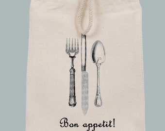 Canvas Lunch Style Bon Appetit with Vintage Flatware Tote - other fonts and font colors available by request