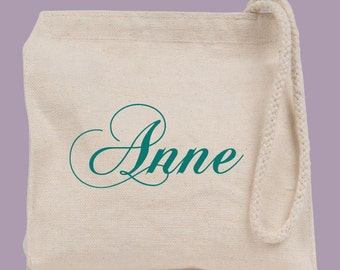 Personalized Canvas Wristlet / Mini Tote / Bridesmaid clutch  - other fonts and font colors available