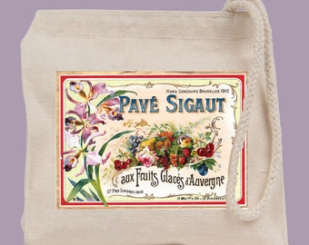 Vintage French Label Pave Sigaut Fruits Glace Wristlet / Mini Tote / Bridesmaid clutch  - personalization available
