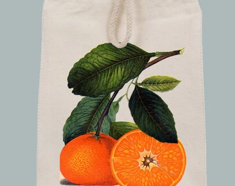 Vintage Oranges Illustration Lunch Bag Tote with Velcro closure and Rope Handle