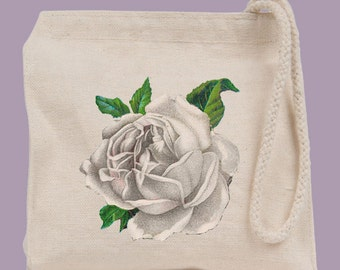 Vintage White Rose Wristlet / Mini Tote / Bridesmaid clutch  - personalization available