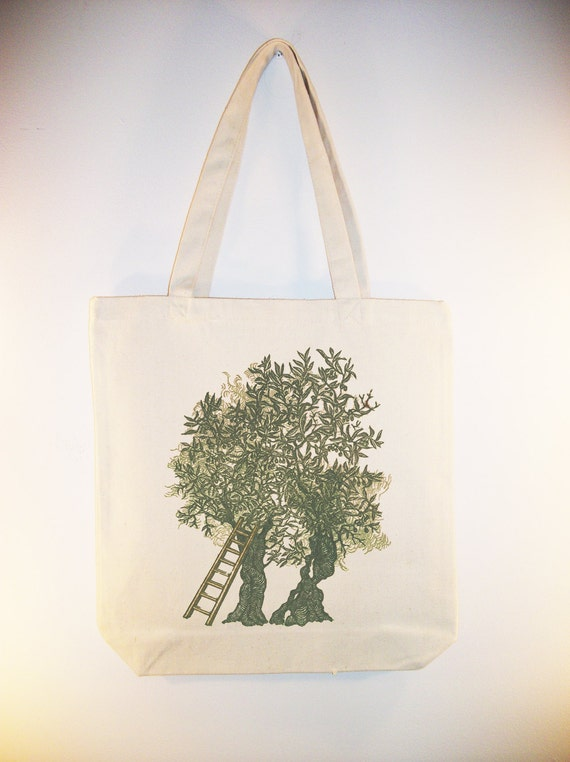 Woodcarving Olive Tree image Canvas Tote Bag, Market Bag, Ecofriendly - Selection of sizes available.