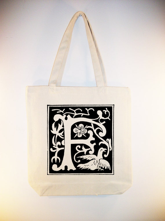 Ornamental 16th Century Monogram Bag BLACK or NATURAL Canvas Tote -- Selection of sizes available:  Listing for F, G, H, I, J