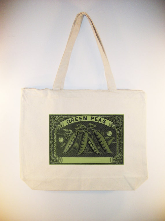 Vintage Green Peas Label transferred onto inch zip top Canvas Tote -- Selection of  sizes available