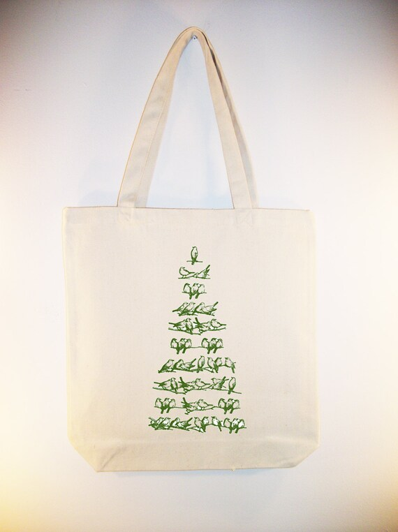 Vintage Birds Image Christmas Tree on Canvas Tote - Selection of sizes available