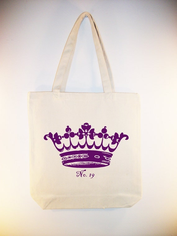 Vintage Crown  Canvas Tote  -Selection of  sizes ANY COLOR IMAGE available
