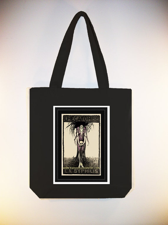 Vintage L'Hecatombe Syphilis poster transferred onto Black or Natural  CanvasTote with Shoulder strap - Selection of sizes available
