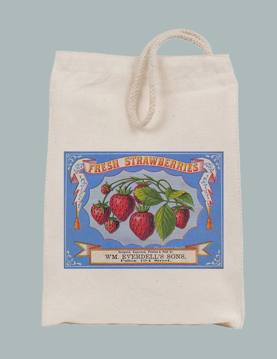 Vintage Strawberries Label Lunch Bag Tote with Velcro closure and Rope Handle