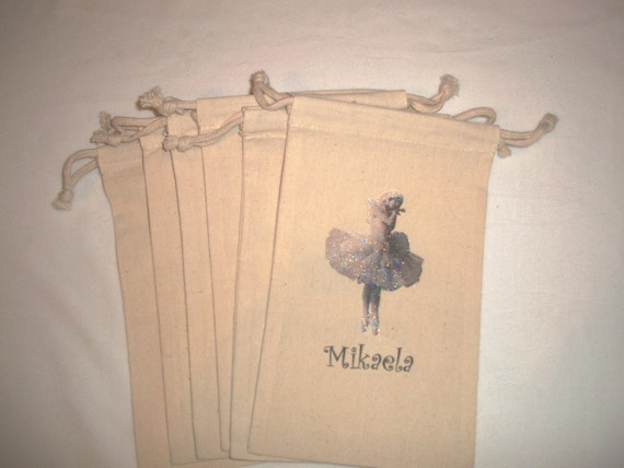 Ballerina Sparkle Personalized 6x9 inch Muslin Drawstring Goody Bags - Set of 6
