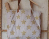 Golden Star Recycled Gray Linen Bag Leather Handle