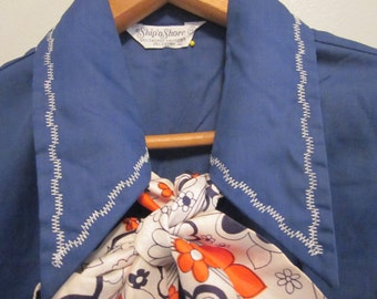 "60's Vintage ""Ship'n Shore"" Button UP  blue Sleeveless Shirt M-L"