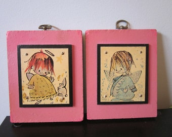 vintage 70's Folk Art Whimsical Angels Wall hanging Picture Set Girls bedroom Wall decor