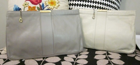 TWO Vintage 60-70's Almond & Stone Gray Leather Day to Evening Clutch Bag