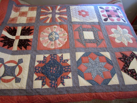 Handmade quilted Patch work Quilt Full Size Bed Quilt Throw cottage chic