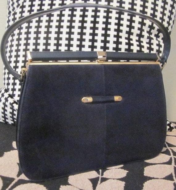 vintage 60's Tubular Gold Frame Kelly Handbag Navy Blue Purse
