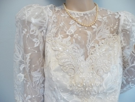 vintage 60's Beaded Ivory Lace Ruffle Tiered Victorian wedding party Dress S-M
