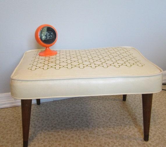Eames Era Mid Century Modern Atomic Age vinyl Footstool Stool Hassock Ottoman