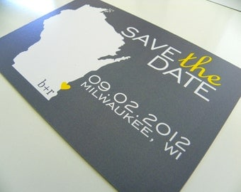 Wisconsin State Map Save the Date Postcard ANY LOCATION AVAILABLE Set of 48 State Map Postcards Custom Map Postcards Heart Map Postcards