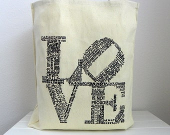 Philadelphia Love Sign Canvas Totes SET OF 12 Bridesmaids Gift Set Wedding Welcome Bags Wedding Guest Bags Philadelphia Wedding Favor
