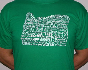 Oregon T Shirt Oregon Tee State of Oregon Word Art Gift for Him Gift Under 20 Oregon State Shirt