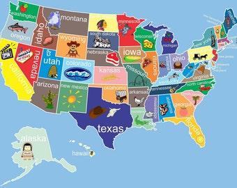 Kids United States Map Childrens Room Decor Childrens Art Classroom Art Childrens Usa Map Playroom Art