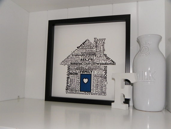 Housewarming Gift Home Sweet Home Print FRAMED ART Typography Word Art Holiday Gift for Hostess Valentines Day Gift Under 50