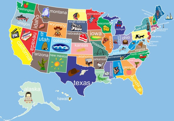 Kids United States Map Classroom Art Childs Room Decor Nursery: Us Map Kid At Usa Maps