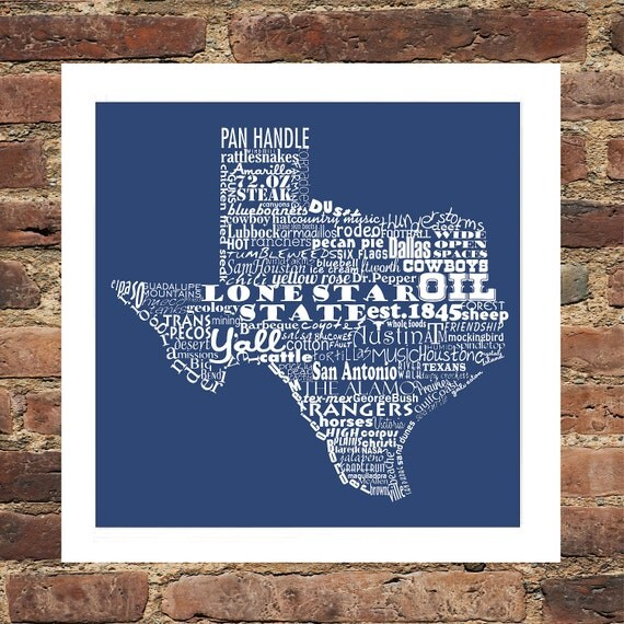 Texas State Art Texas Word Art Typography Print Texas Print Texas Poster The Lone Star State Typography Art Texas Pride Texas Our Texas