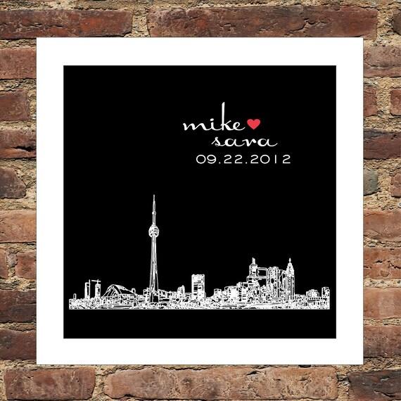 Unique Wedding Gifts Toronto : Toronto Skyline Wedding Gift Print Personalized FRAMED ART Toronto ...