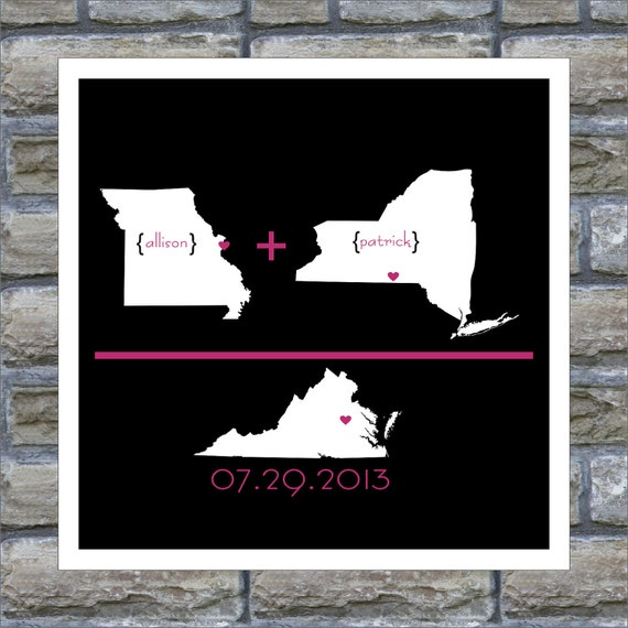Wedding Art Personalized Gift State Art Map - Love Arithmetic Print - 12x18 Any Location Avaliable Worldwide