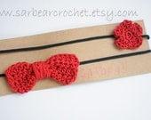 Flower and bow headband set