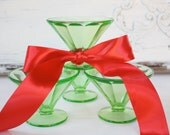 Green Depression Glass Sherbet Dishes - Set of Four