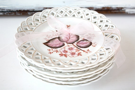 Vintage China Plate Lattice And Flowers Cottage Chic Set of 6