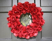 Paper Flower Wreath- Red- Holiday