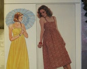 Vintage 1980's Butterick Misses Empire Fitted Sun Summer Spaghetti Strap Dress 4326 Sewing Pattern Size 12 UNCUT