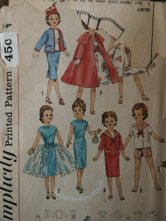 vintage 1950 s doll clothes pattern simplicity 3252
