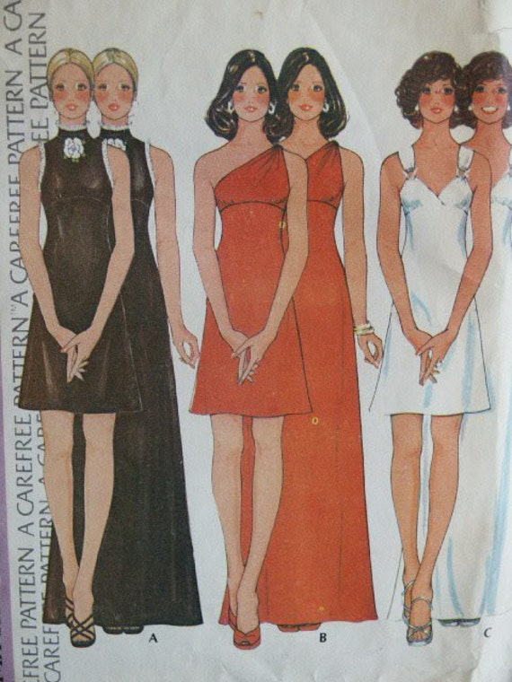 Vintage 1973 Bridesmaid Prom Evening Party Elegant Dress McCall's Pattern SIze 10 Bust 34
