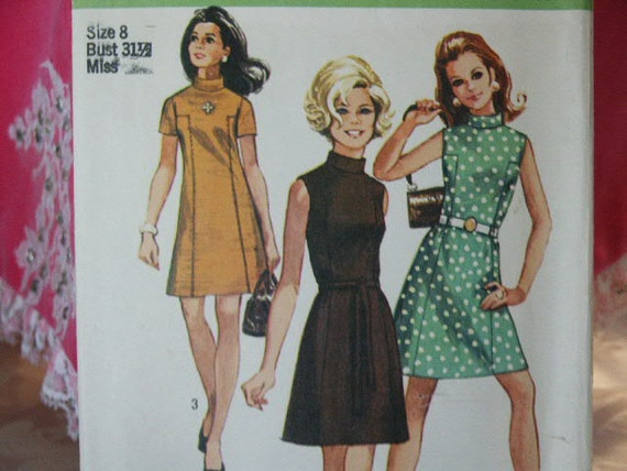 Vintage 1969 Simplicity 8588 MOD  A-Line Belted Classic 60's Stand Up Collar Dress Sewing  Pattern Size 8 Bust 31 1/2