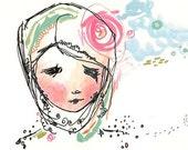 Original Girl Illustration Drawing Painting - Cloud Princess