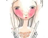 Whimsical Girl Painting, Original Illustration, Girls Bedroom Art, Girls Fashion Decor, Art Gift, Fashion Drawing, Madam Fashion